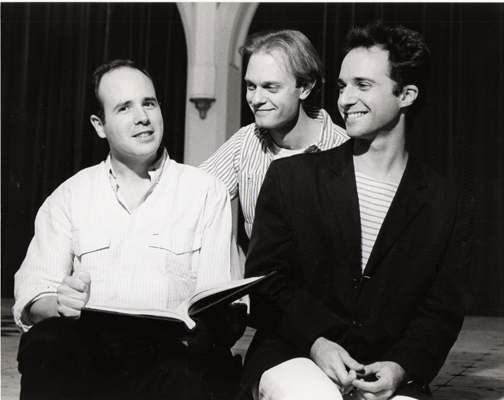 Rehearsing Zero-Positive at the Public Theatre in NYC 1988, with David Hyde Pierce and Harry Kondoleon