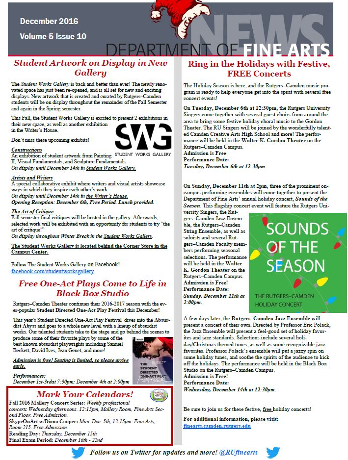 Concerts, Art Exhibits, Theater and More! View our December Newsletter!