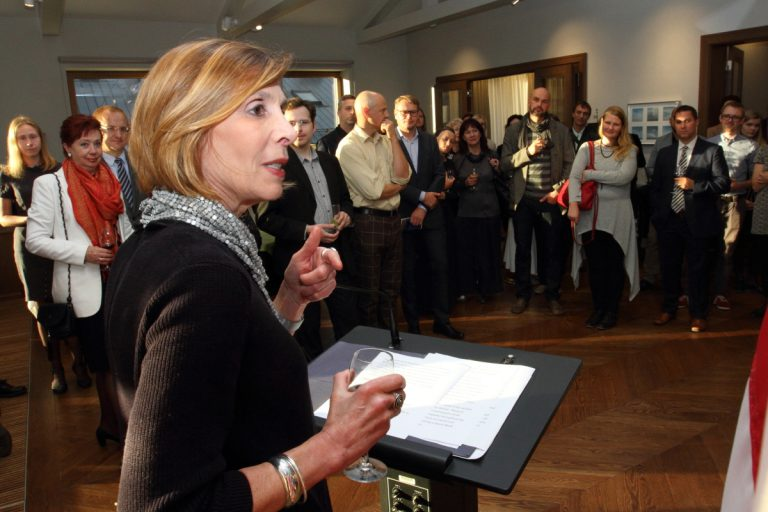 Margery Amdur speaking at gallery reception in Riga, Latvia